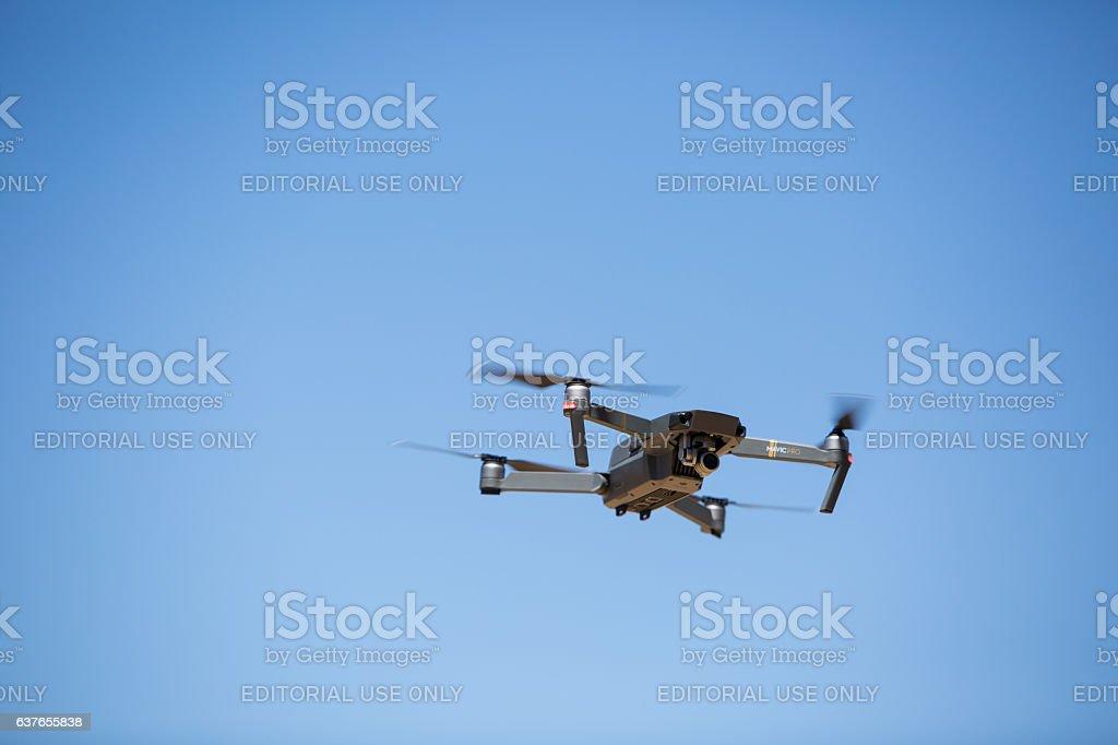 DJI Mavic Pro Drone in flight stock photo