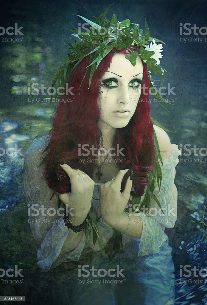 Mavka wreath of willow and flowers stock photo
