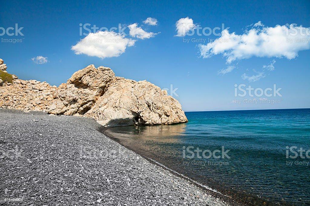 Mavra Volia Beach, Chios, Greece stock photo