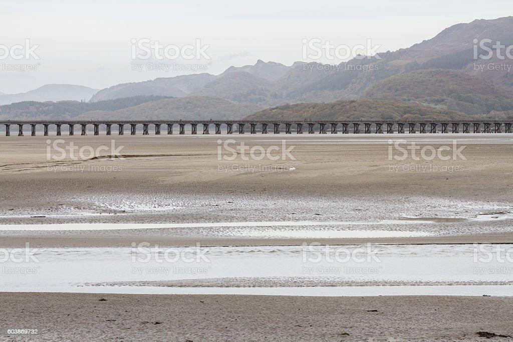 Mawddach Estuary and viaduct stock photo