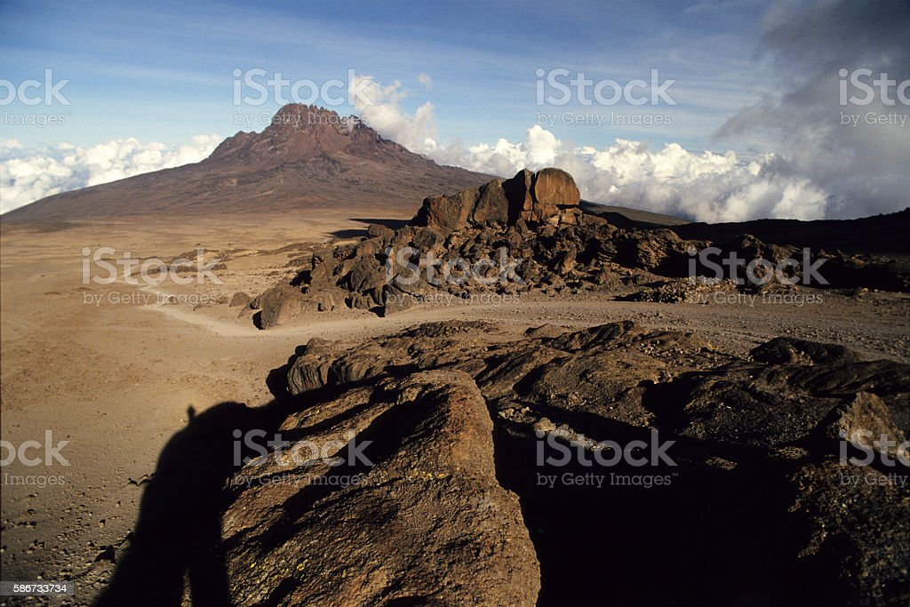 Mawenzi Mt. viewed in the distance from Kibo Hut, Tanzania stock photo