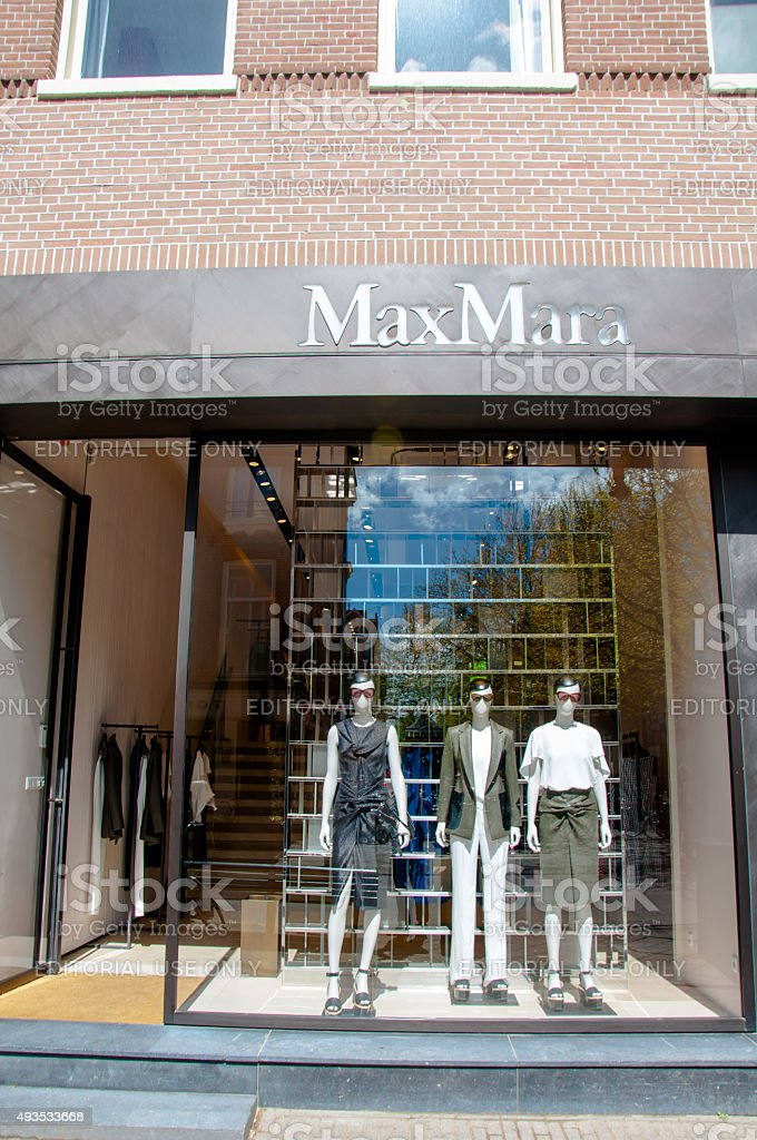 Max Mara store in the P.C.Hooftstraat shopping street in Amsterdam. stock photo