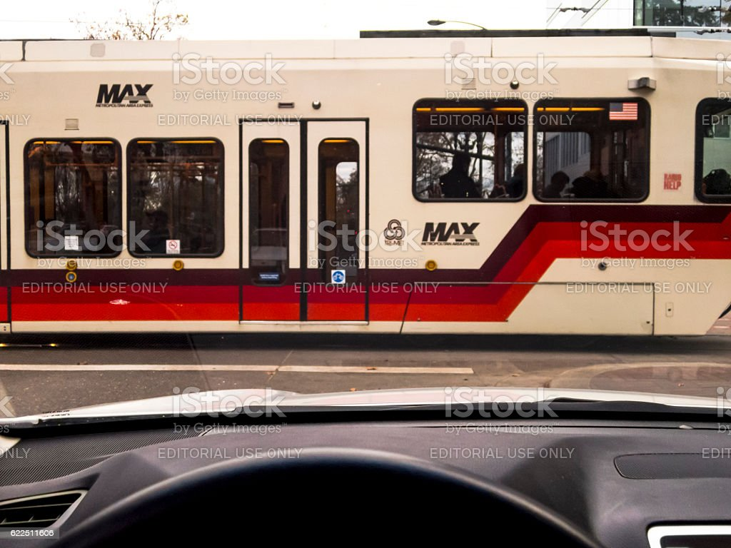 Max Train from Car Portland Oregon Near Lloyd Center Station stock photo
