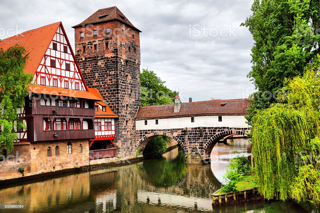 Maxbrucke bridge in Nuremberg stock photo