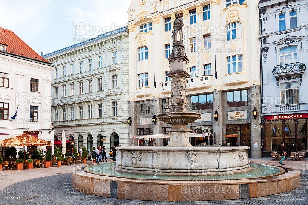 Maximilian Fountain at Main Square in Bratislava stock photo