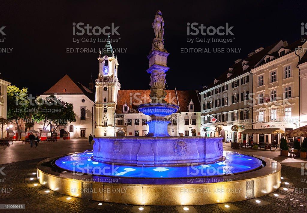 Maximilian Fountain in Bratislava Town in night stock photo
