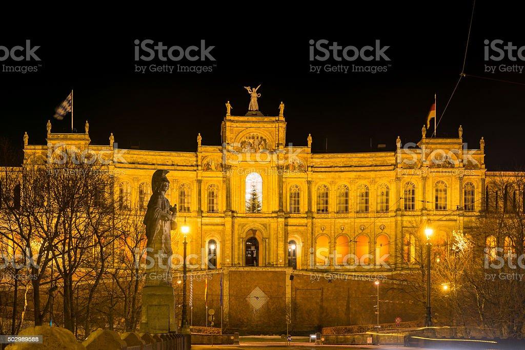 Maximilianeum in Munich at night stock photo