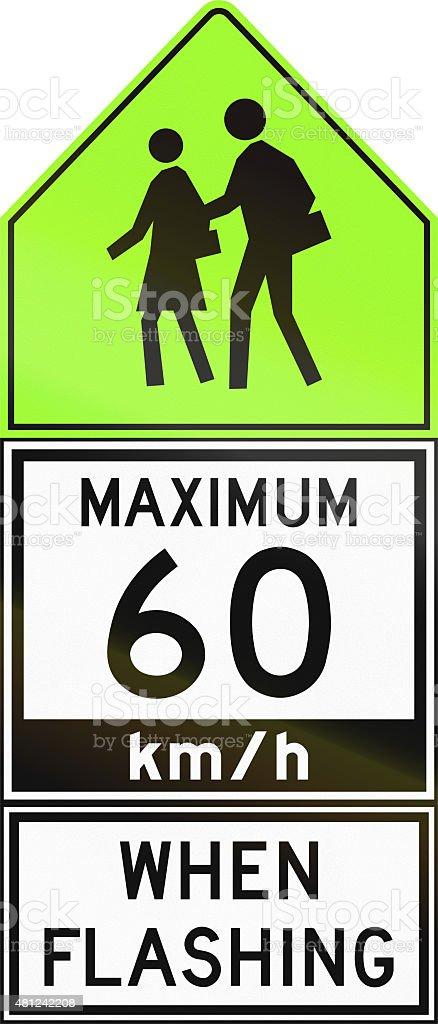 Maximum 60 Kmh When Flashing in Canada stock photo