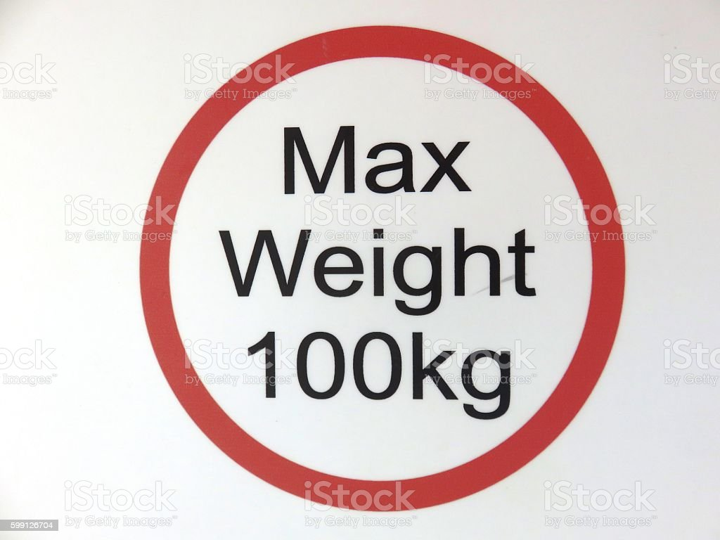 Maximum weight of one hundred kilograms stock photo