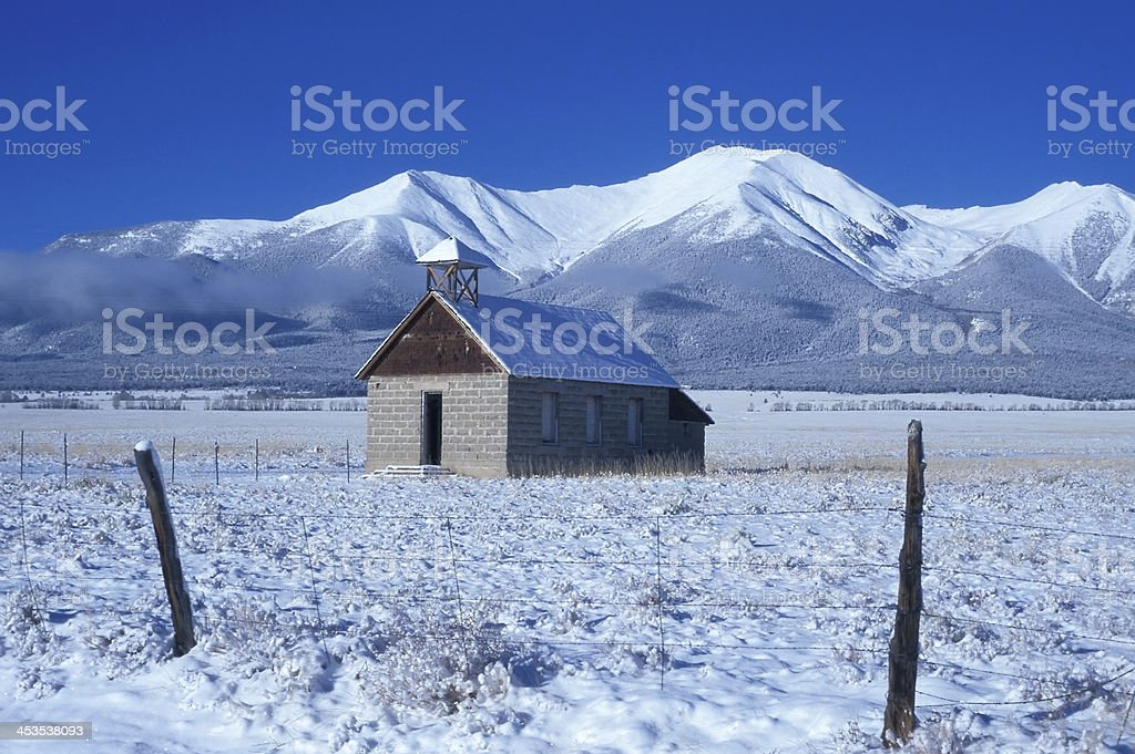 Maxwell Schoolhouse in Buena Vista, Colorado royalty-free stock photo