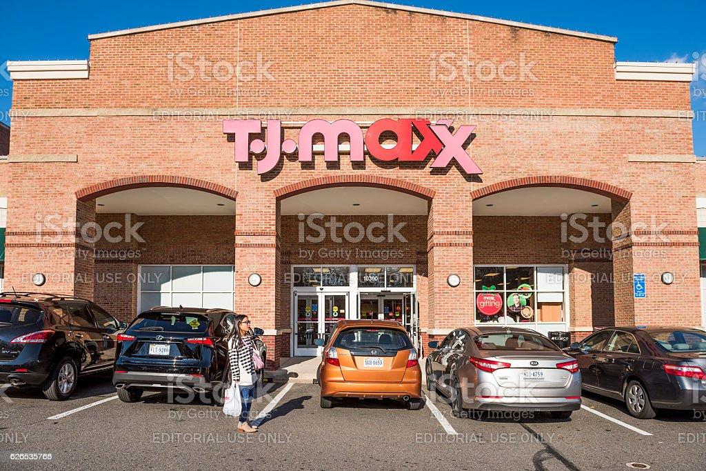 TJ Maxx store facade with brick architecture stock photo