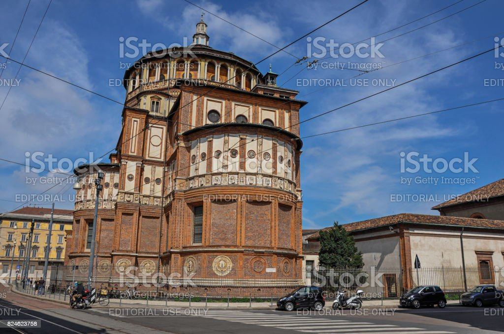 May 07, 2013. Street view and the back of the church of Santa Maria delle Grazie in Milan stock photo