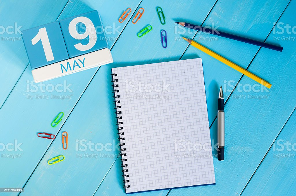 May 19th. Image of may 19 wooden color calendar on stock photo