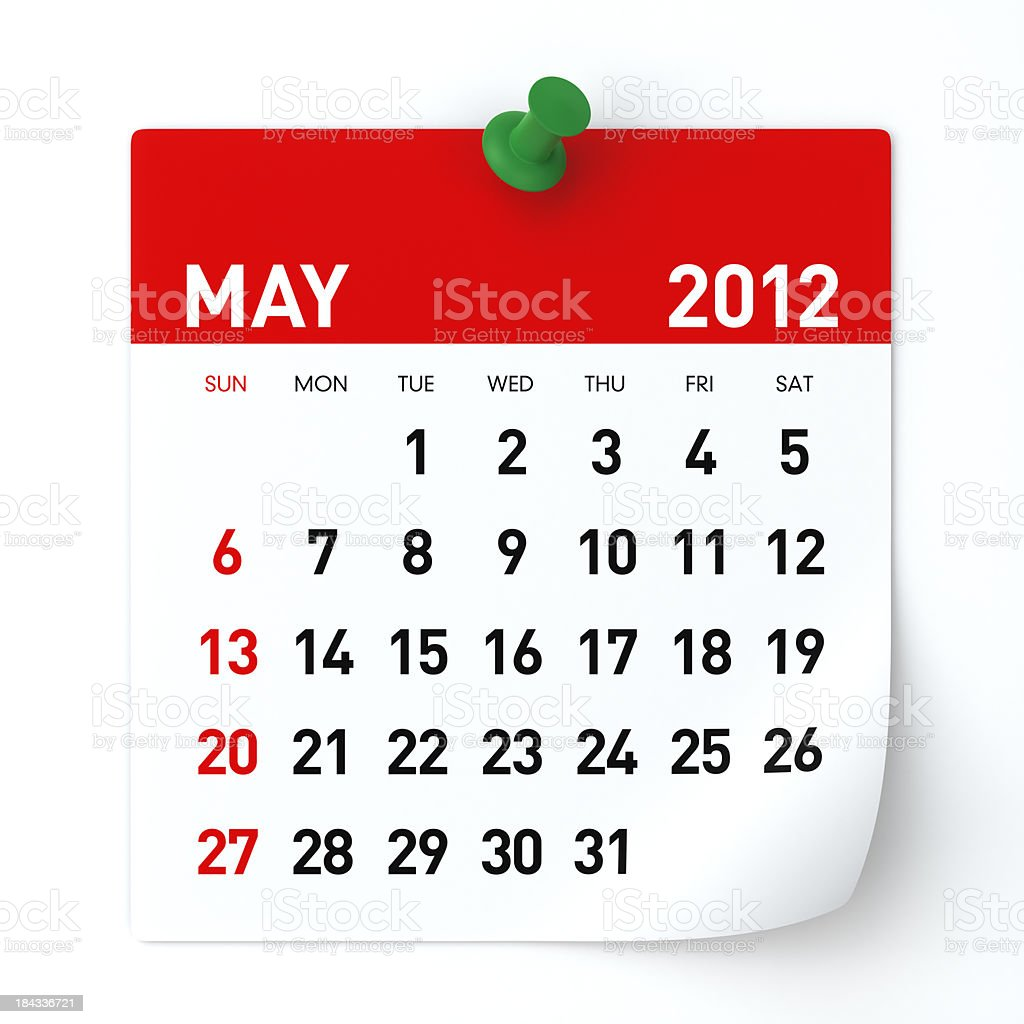 May 2012 - Calendar royalty-free stock photo