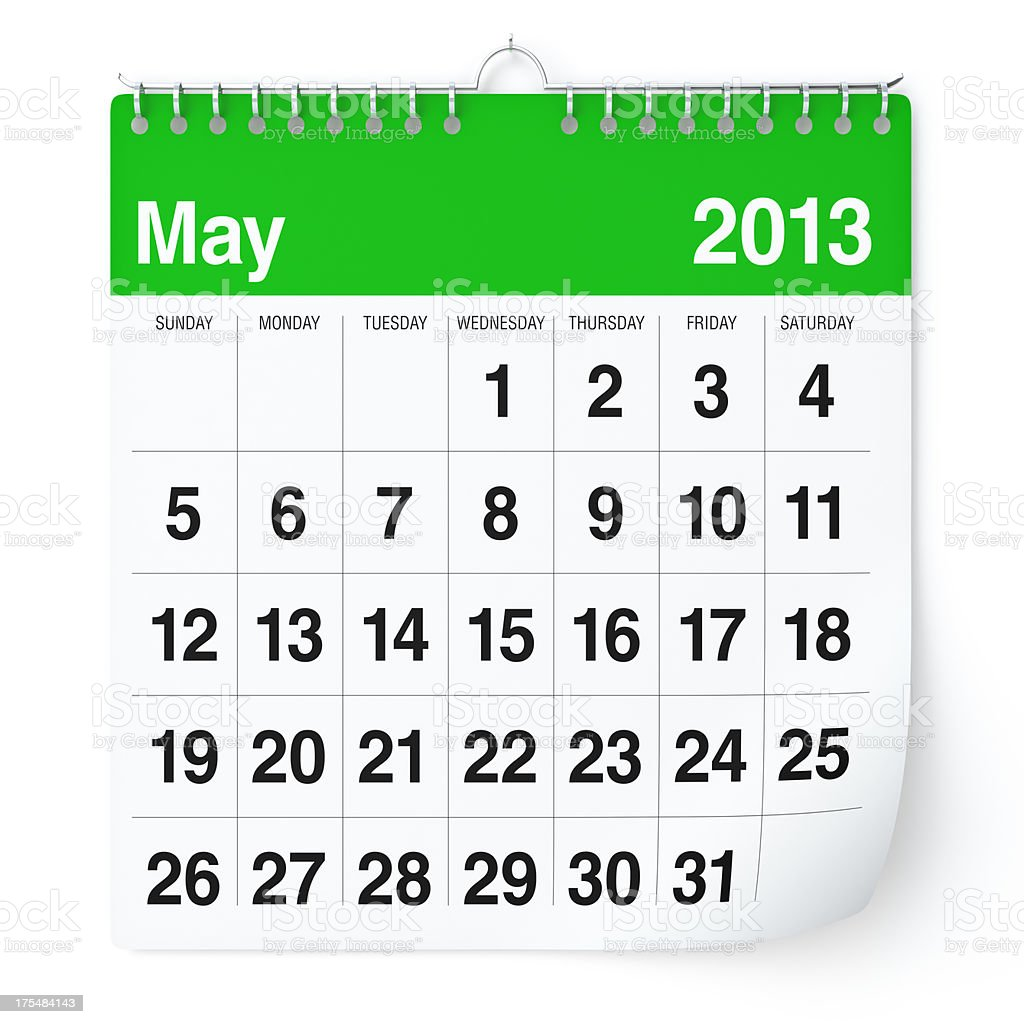 May 2013 - Calendar royalty-free stock photo