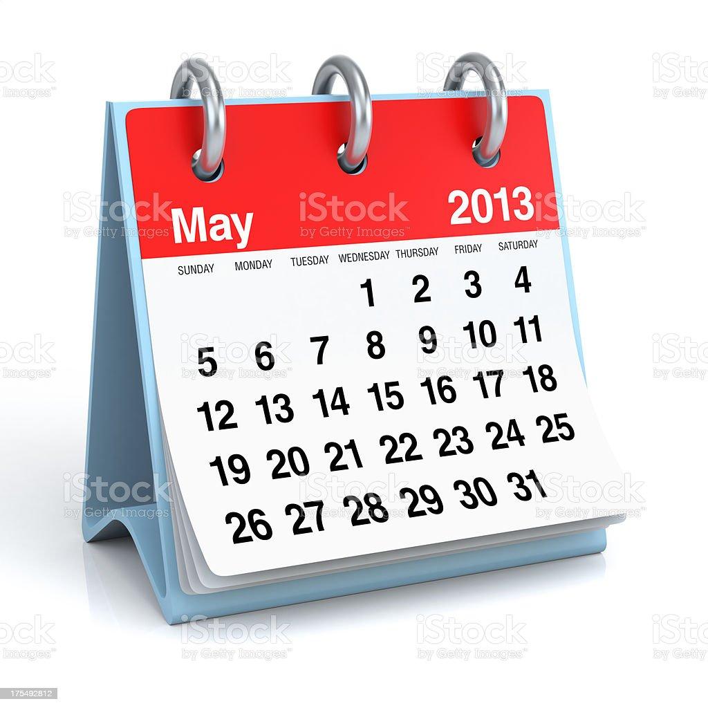 May 2013 - Calendar royalty-free stock photo