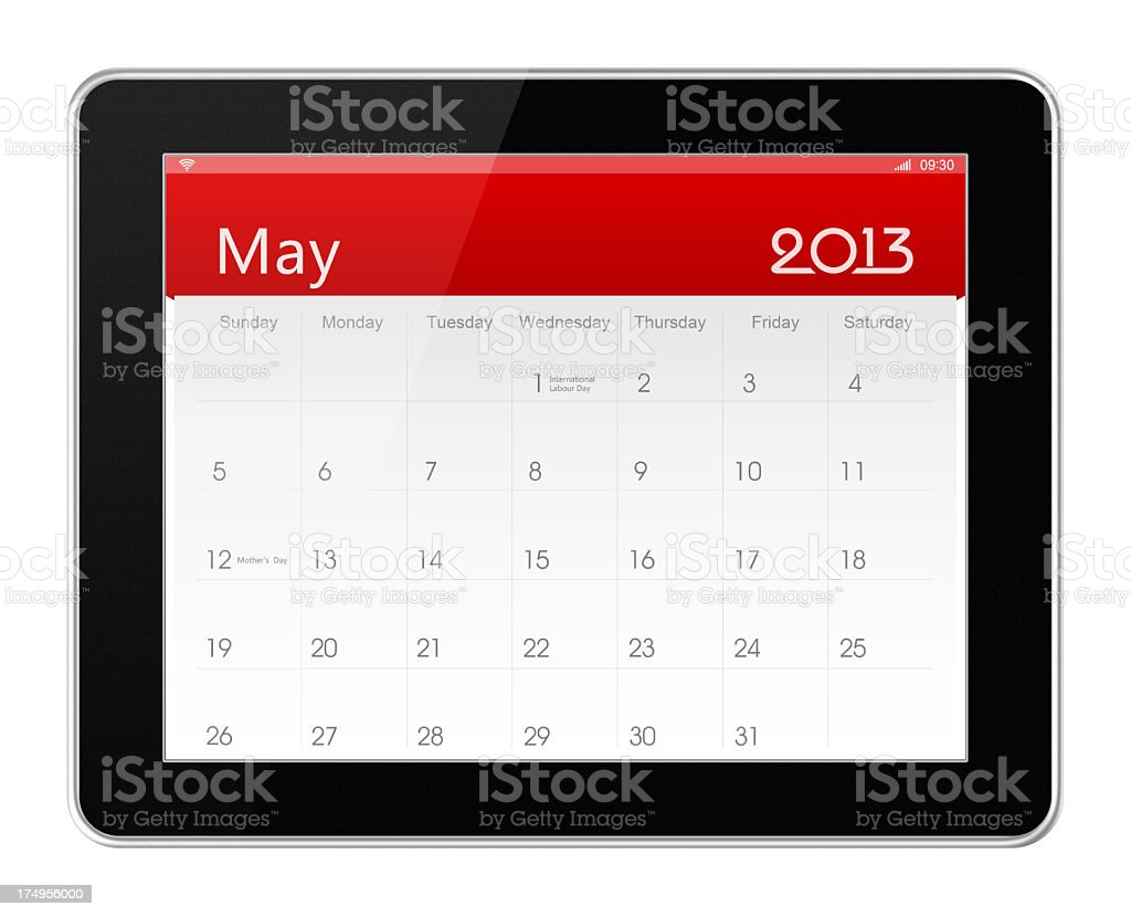 May 2013 Calender on digital tablet royalty-free stock photo