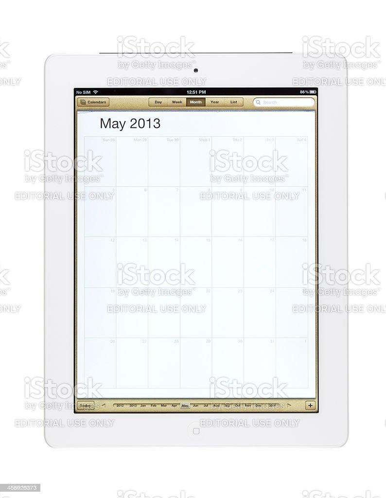 May 2013 Calender on New Ipad royalty-free stock photo