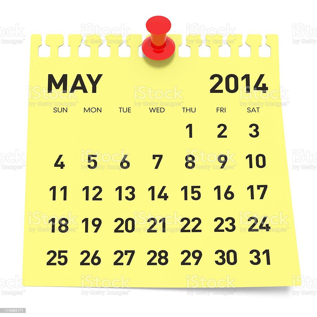 May 2014 - Calendar royalty-free stock photo