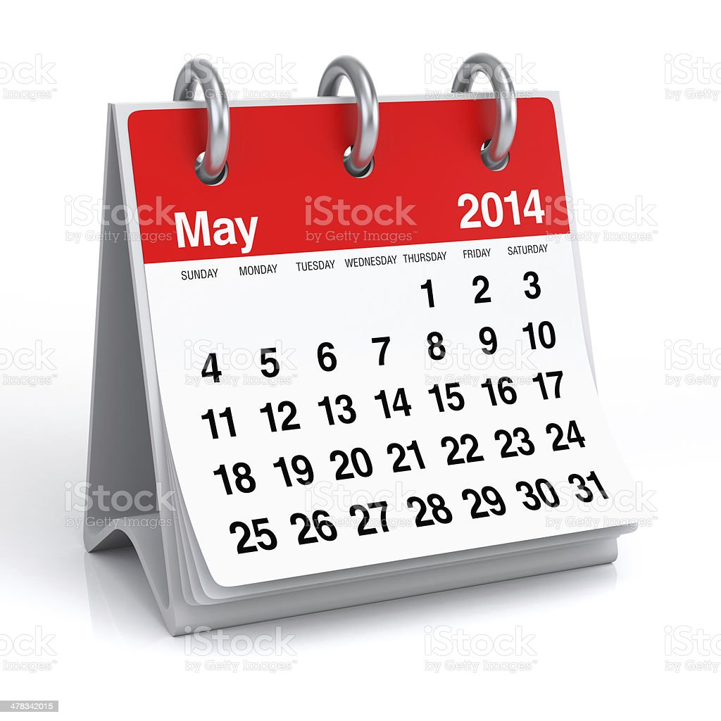 May 2014 - Calendar royalty-free stock photo