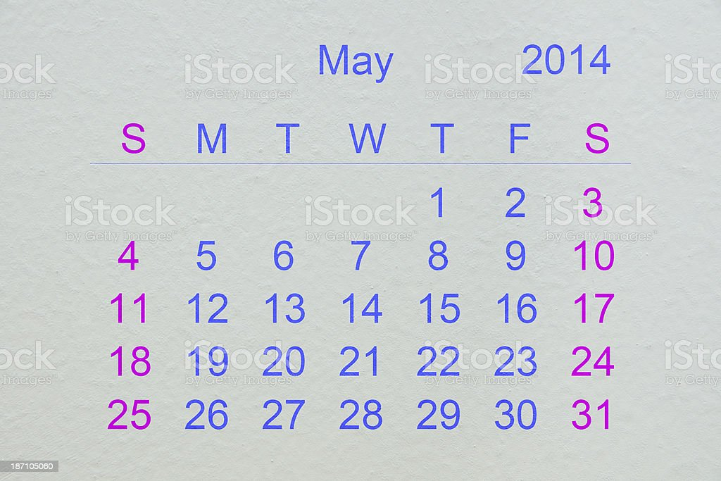 May 2014 royalty-free stock photo