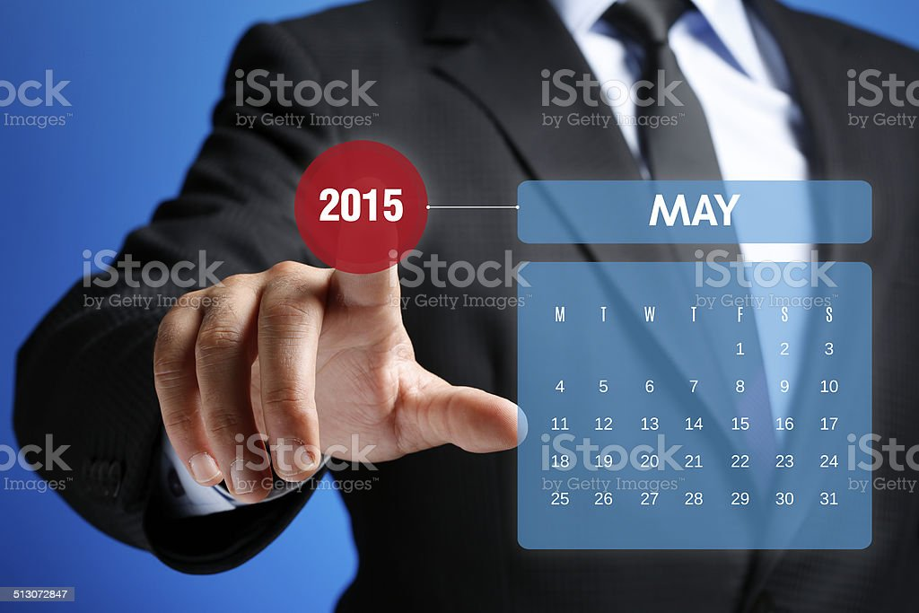 May 2015 Calendar on Interface Touchscreen stock photo