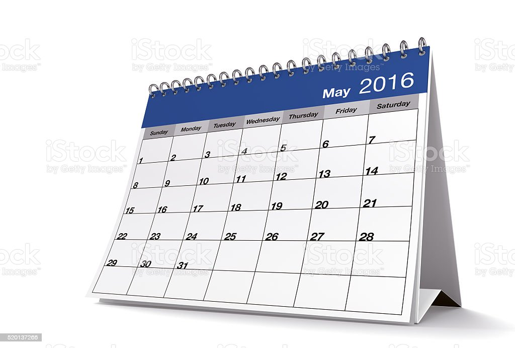May 2016 Blue Desktop Calendar on Isolated White Background stock photo
