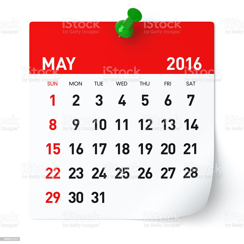 May 2016 - Calendar. stock photo