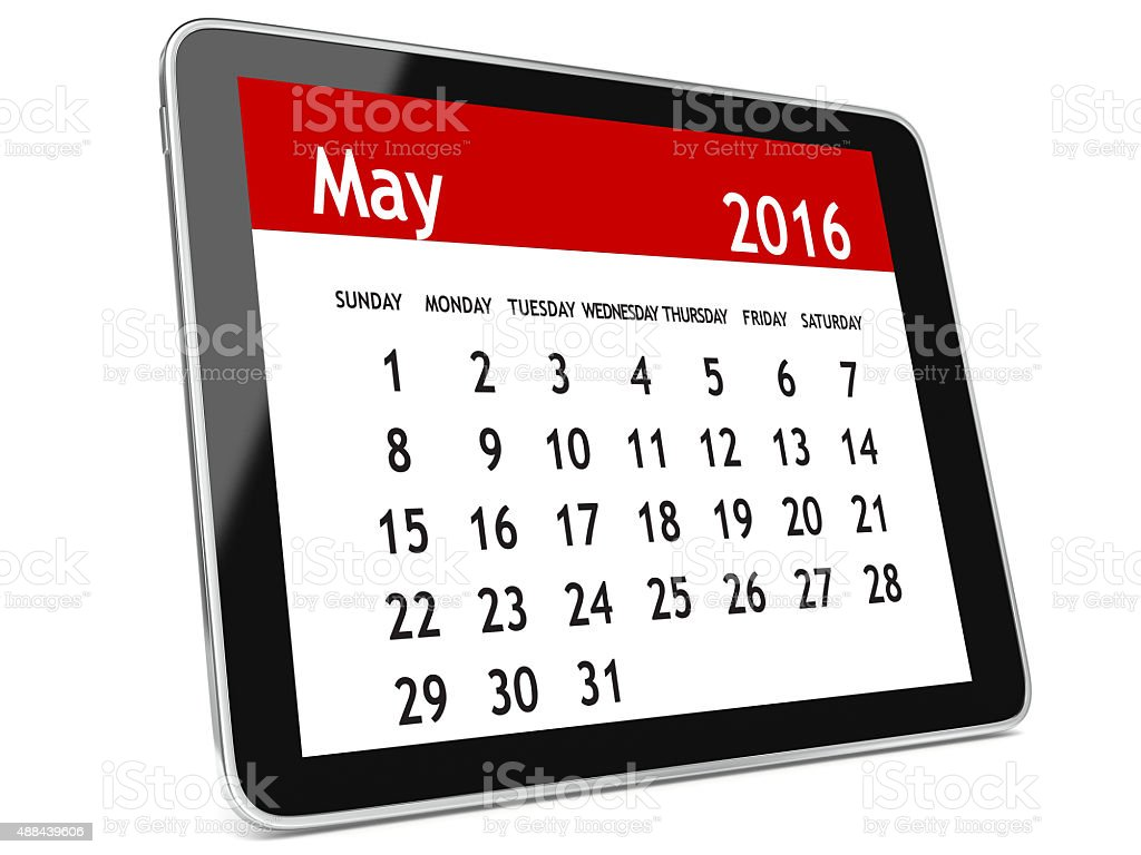 May 2016 calendar tablet stock photo
