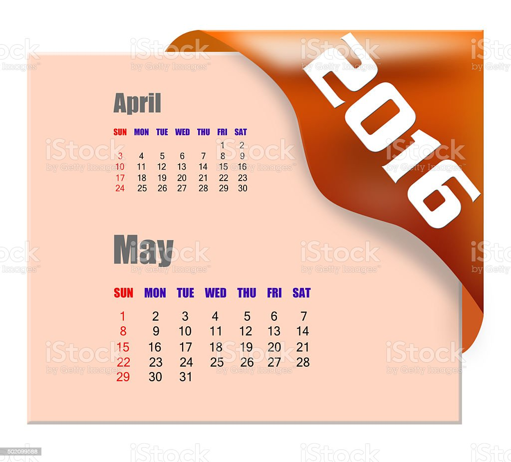 May 2016 calendar with past month series stock photo