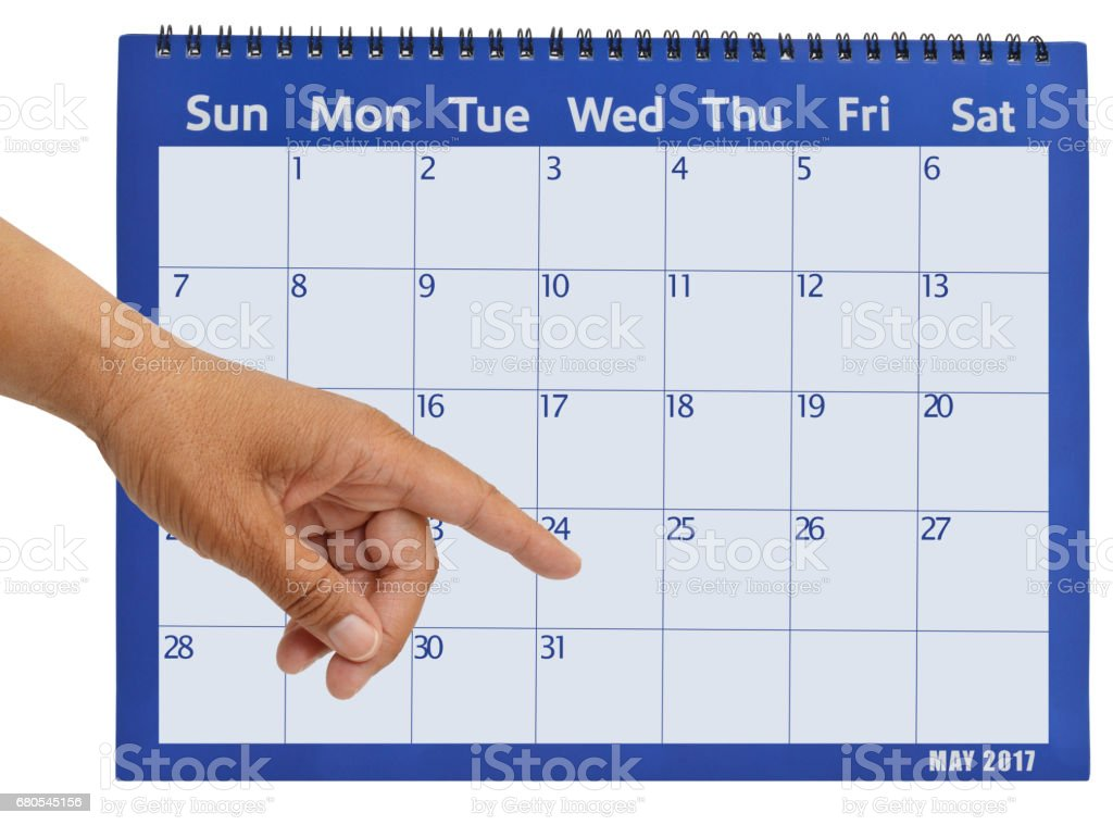 May 2017 Calendar Pointing Finger stock photo