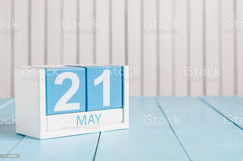 May 21st. Image of may 21 wooden color calendar on stock photo