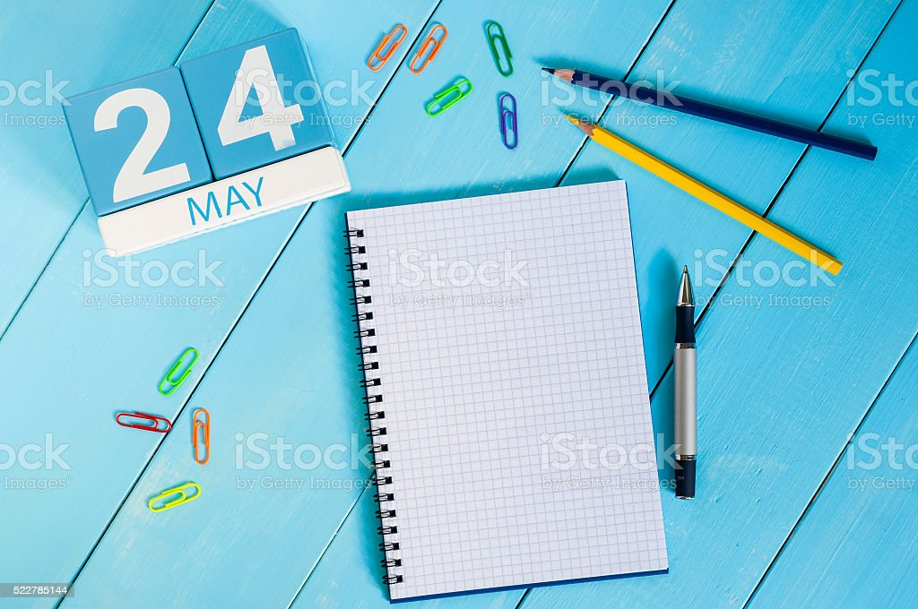 May 24th. Image of may 24 wooden color calendar on stock photo