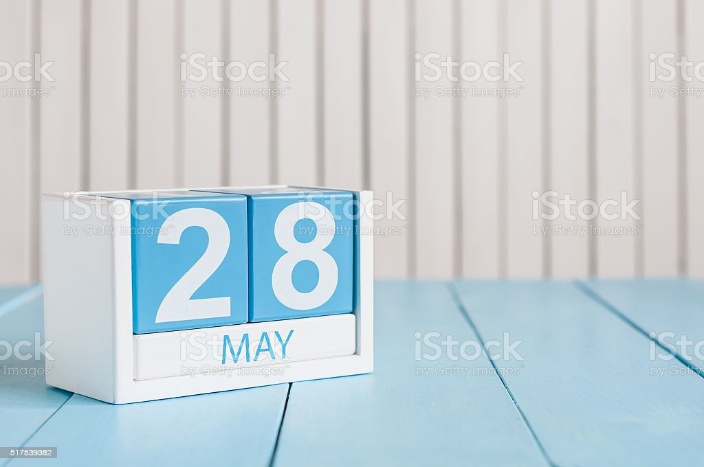 May 28th. Image of may 28 wooden color calendar on stock photo