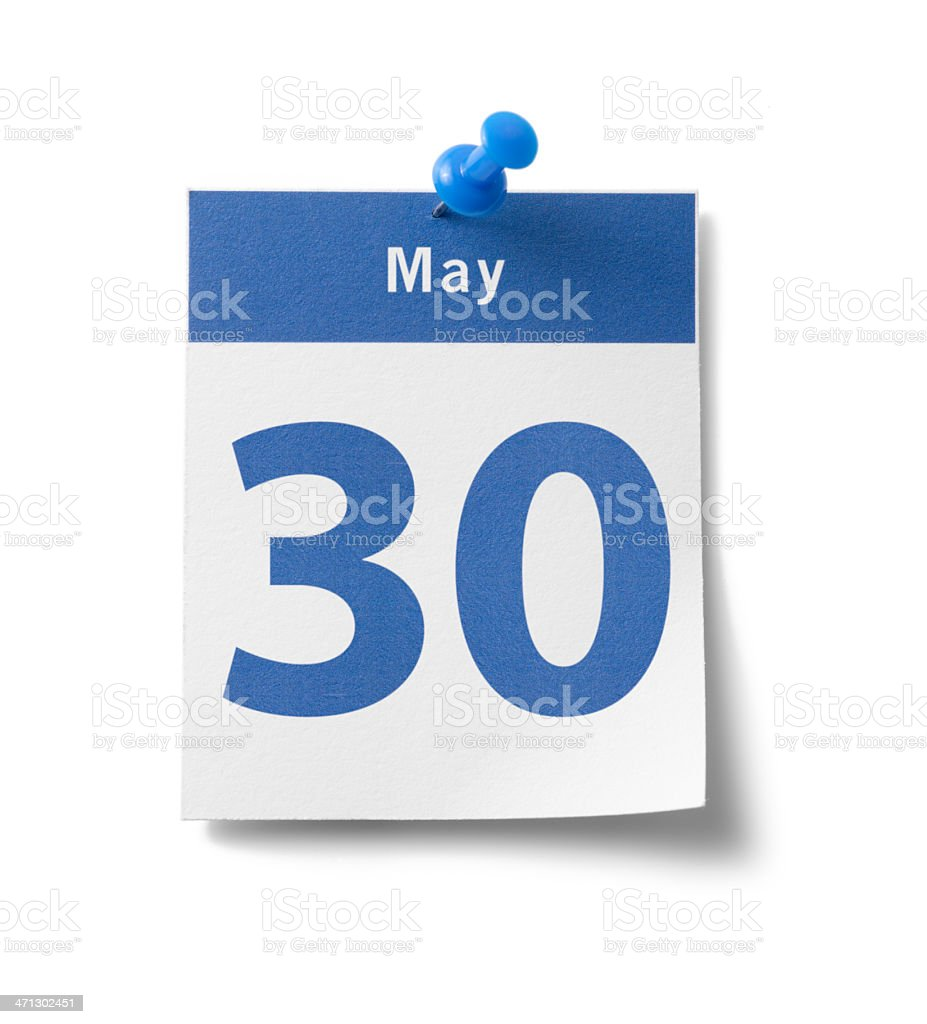 May 30th Calendar royalty-free stock photo