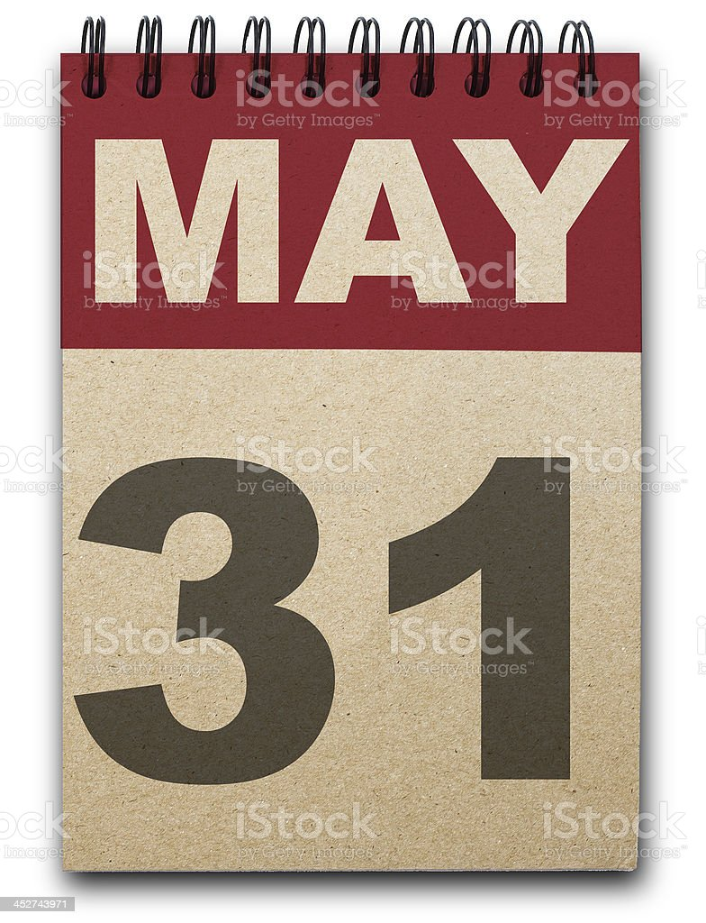 May 31 calendar page in white and red royalty-free stock photo