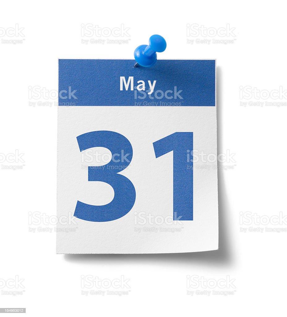 May 31st Calendar royalty-free stock photo