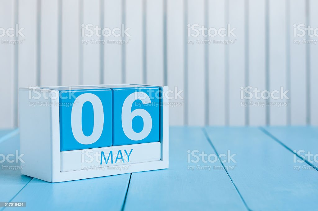 May 6th. Image of may 6 wooden color calendar on stock photo