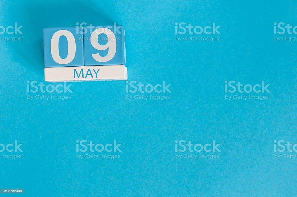 May 9th. Image of may 9 wooden color calendar on stock photo