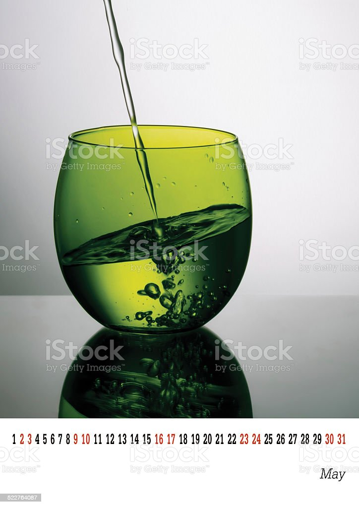 May calender 2015, unusual glass of water. Green. Template. stock photo
