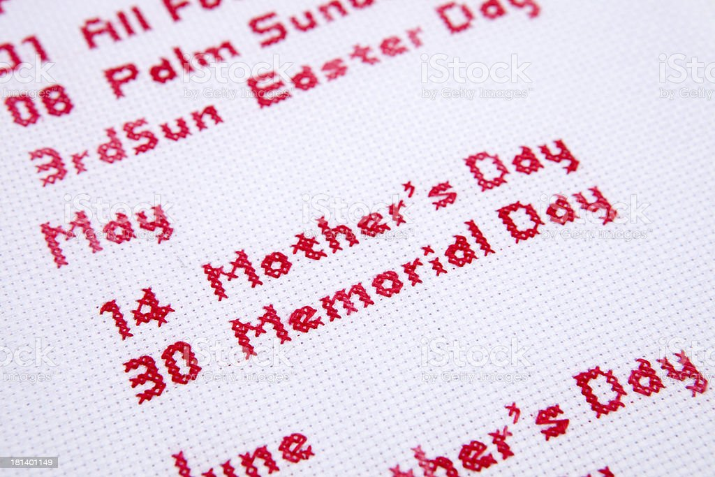 may cross stitch royalty-free stock photo