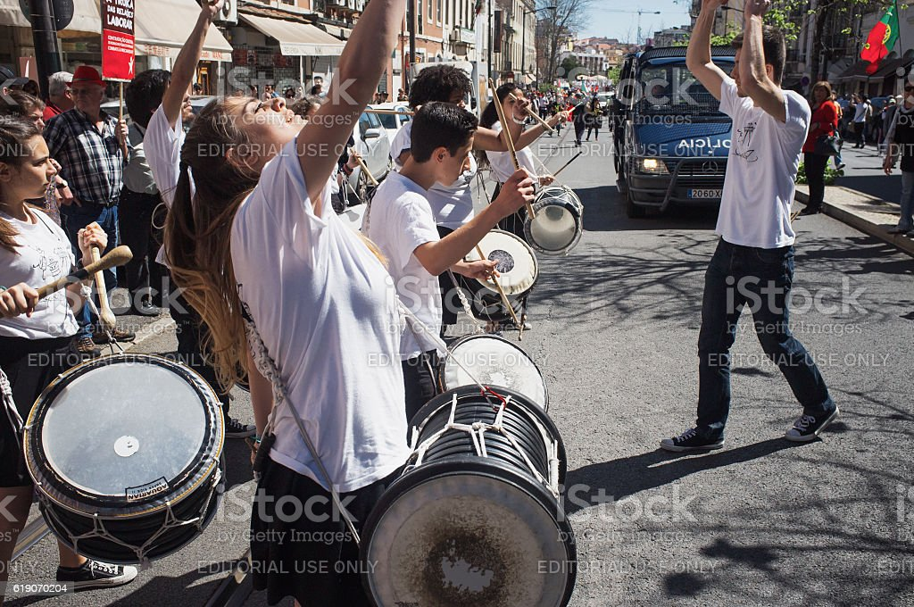 May Day Celebrations in Lisbon stock photo