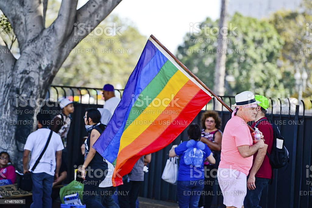 May Day March in Los Angeles Downtown, USA royalty-free stock photo