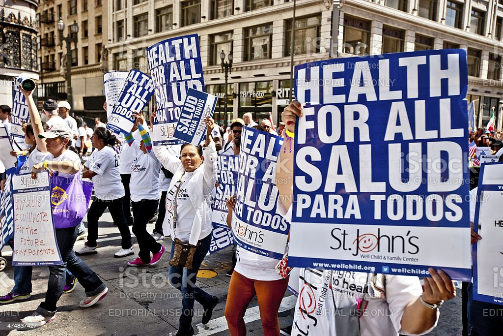 May Day March in Los Angeles Downtown, USA stock photo