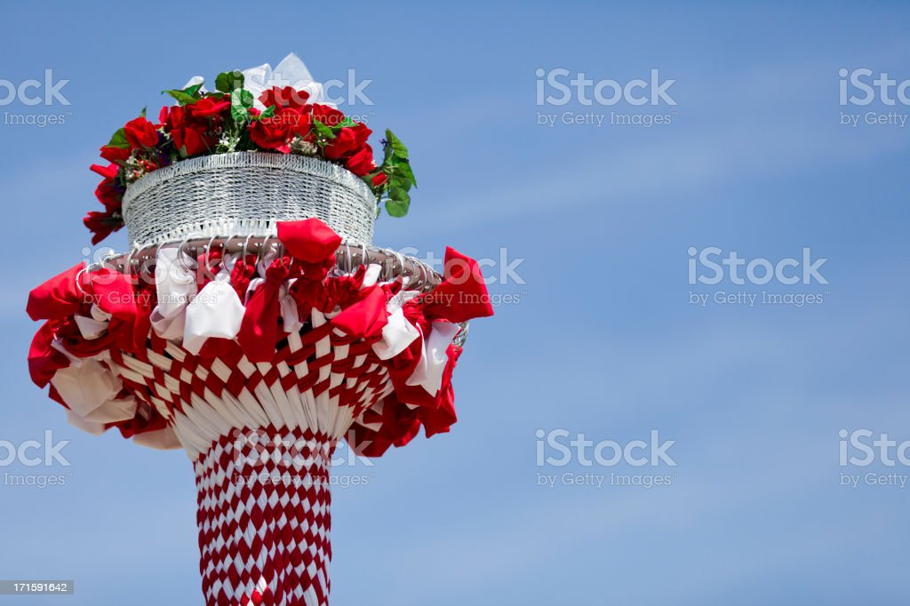 may day pole ribbons stock photo