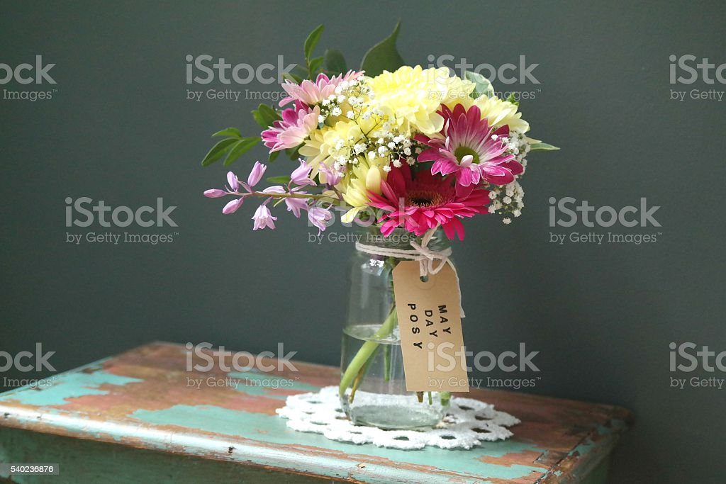 May Day Posy of Flowers stock photo