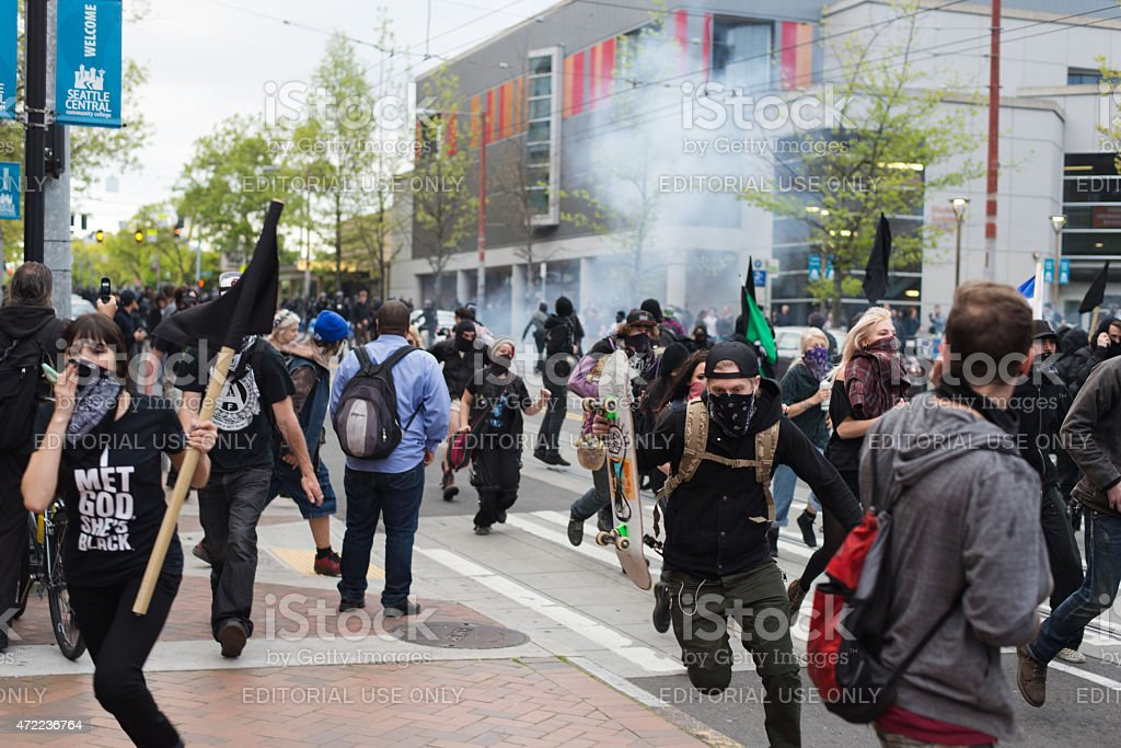 May Day Protesters in Seattle stock photo
