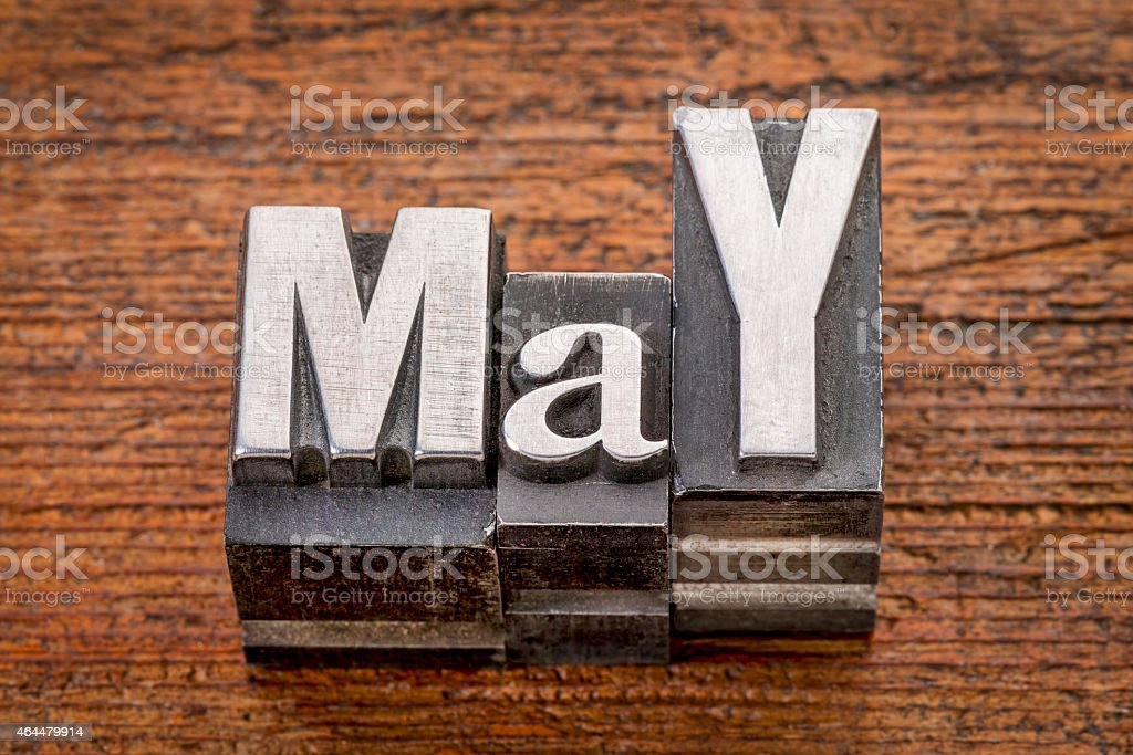 May month in metal type stock photo