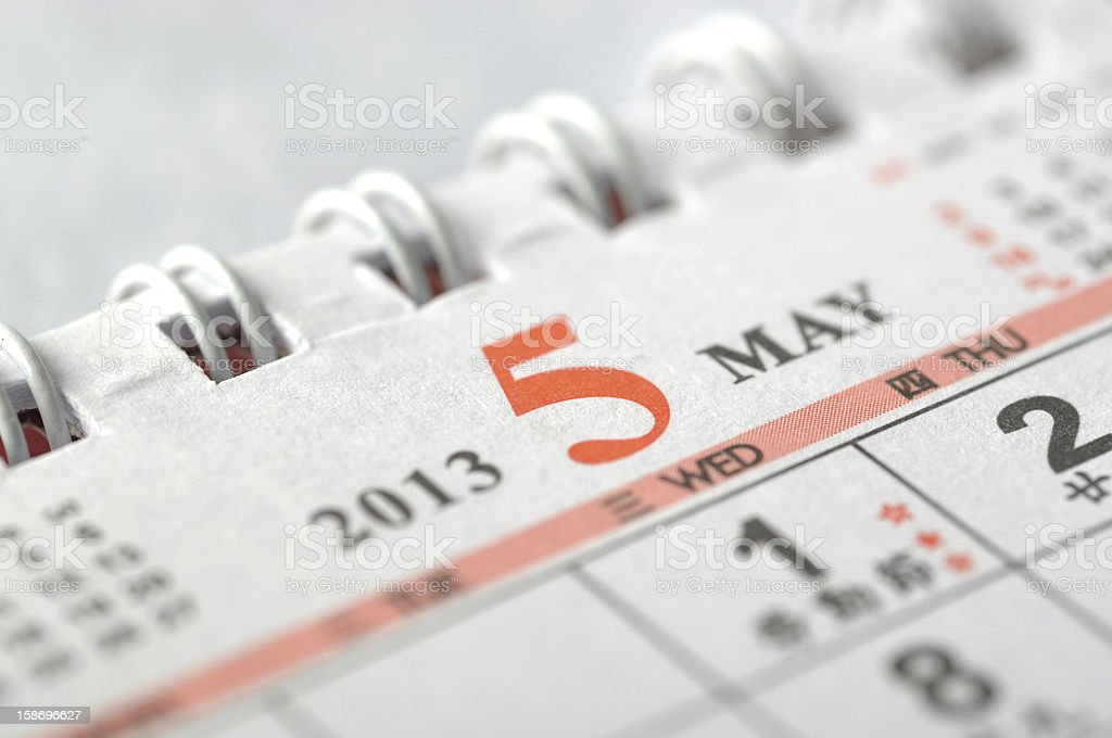 May of 2013 year calendar royalty-free stock photo