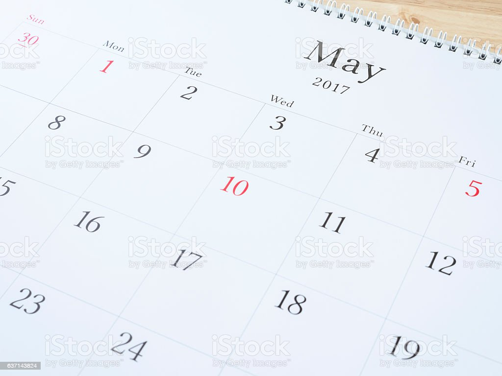 May on white calendar page 1 stock photo